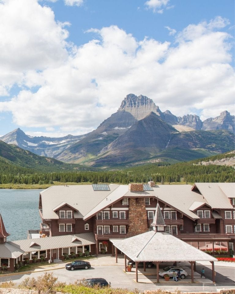 Many Glacier lodge sits on the shores of Swiftcurrent Lake in Glacier National Park