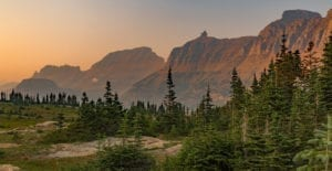 Sun sets on Going-to-the-Sun Road in Glacier National Park, one of the best views on this 3-Day Glacier National Park itinerary.