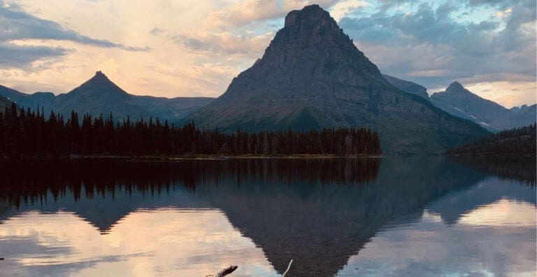 A view over Two Medicine Lake at Sunrise in Glacier National Park