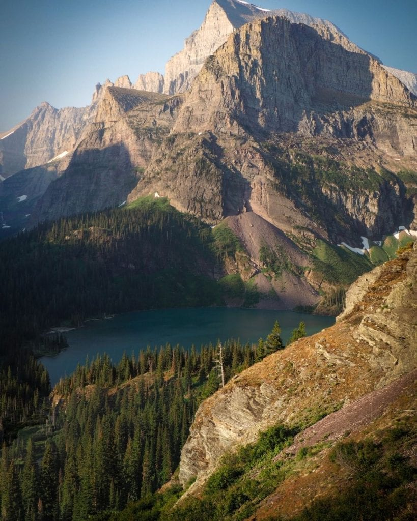 Grinnell Lake is turquoise blue on the hike up to Grinnell Glacier