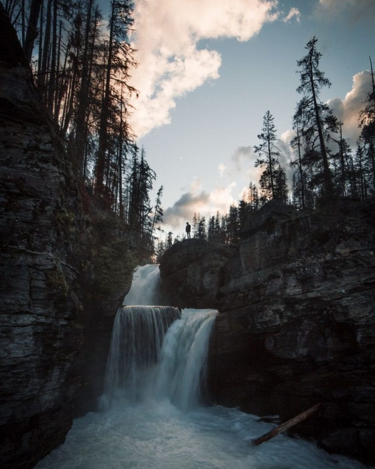 St. Mary Falls at sunset in Glacier National Park