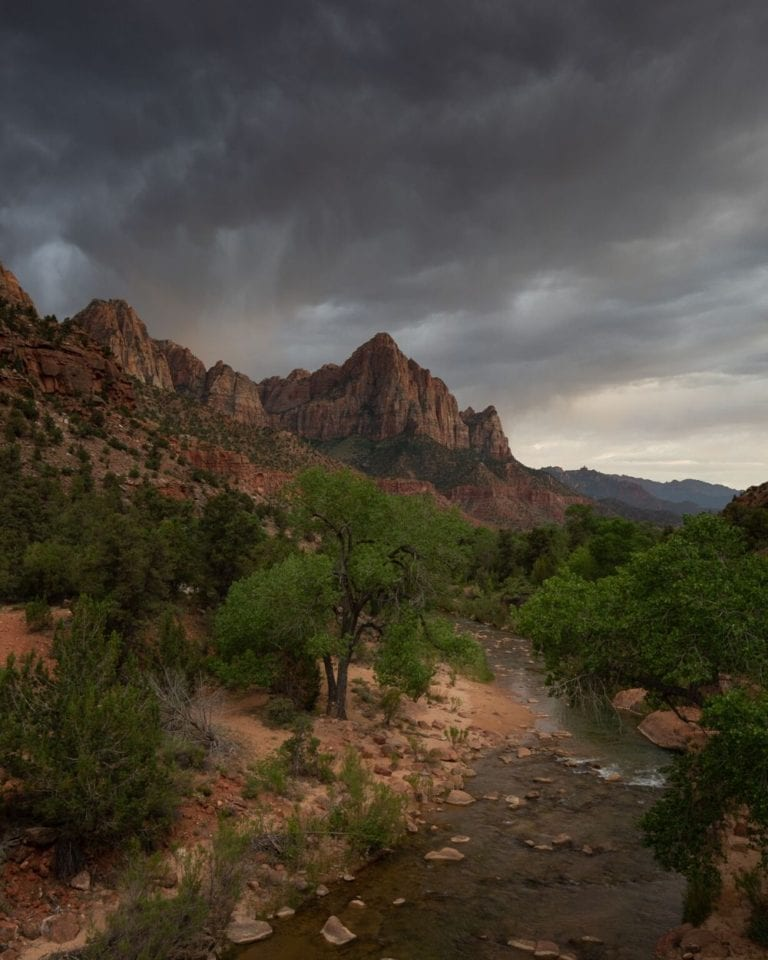A cloudy sunset at The Watchman before a storm in Zion National Park
