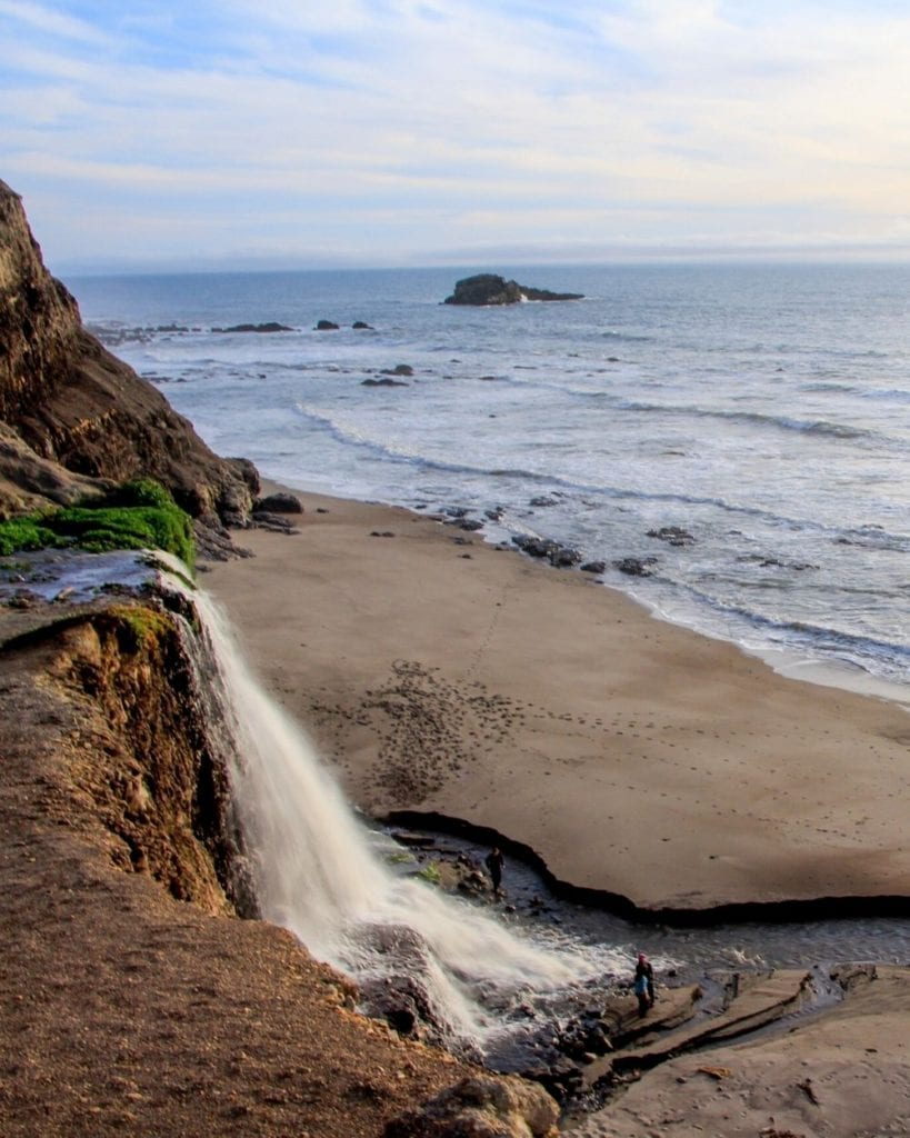 Alamere Falls flows into the Pacific Ocean in Point Reyes National Seashore