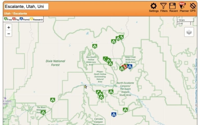 Use Freecampsites.net to find free dispersed camping spots on a road trip.