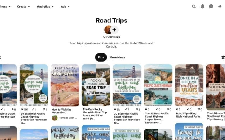 Pinterest is the best tool to get inspired to take a road trip.