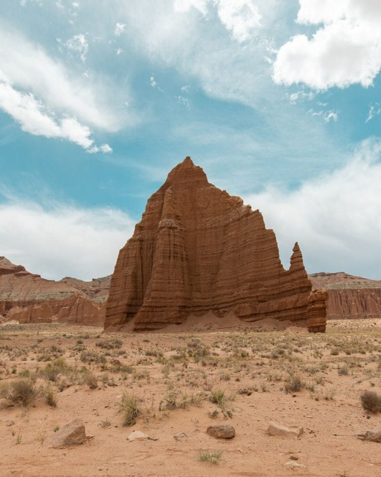 Temple of the Sun in the Cathedral Valley section of Capitol Reef National Park in Utah