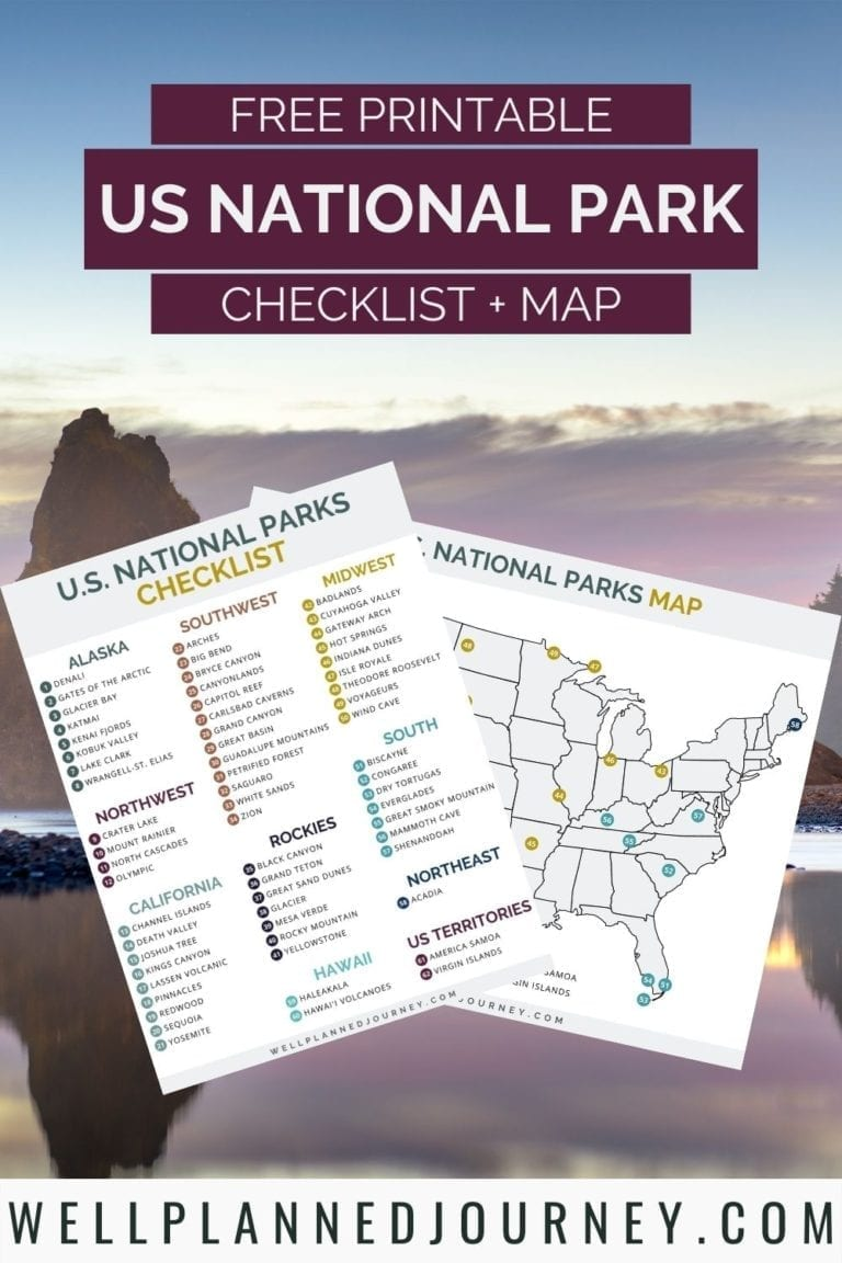 Ultimate List of National Parks by State Free Checklist + Map Pinterest Pin