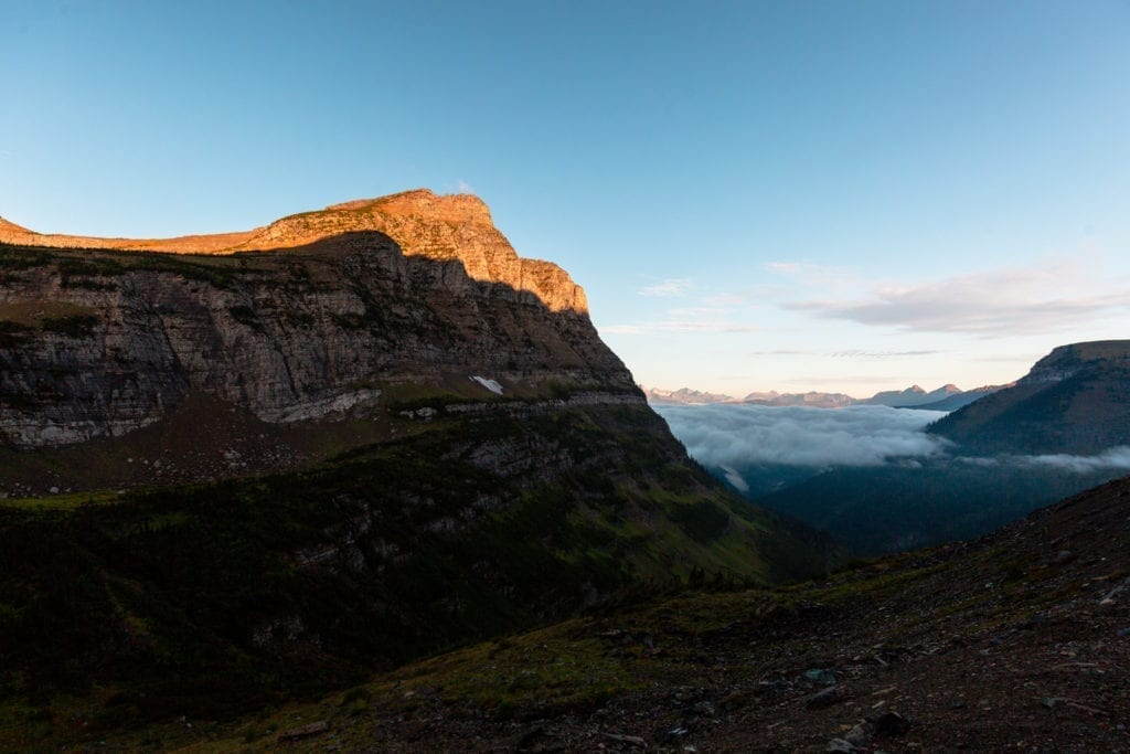 A foggy sunrise along Going-to-the-Sun Road in Glacier National Park.
