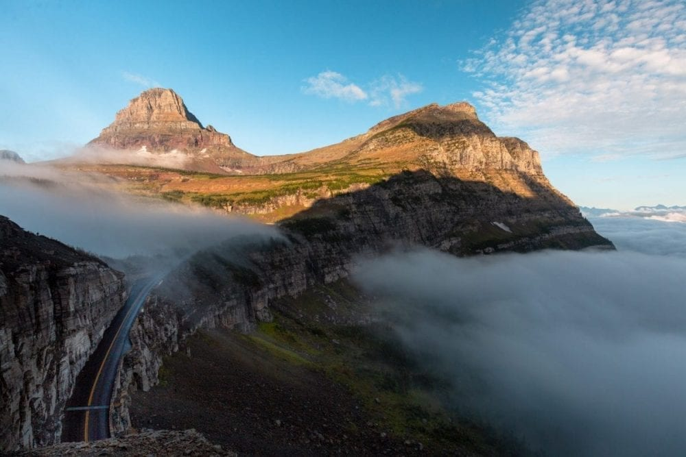Fog covers the valley along Going-to-the-Sun-Road in Glacier National Park.