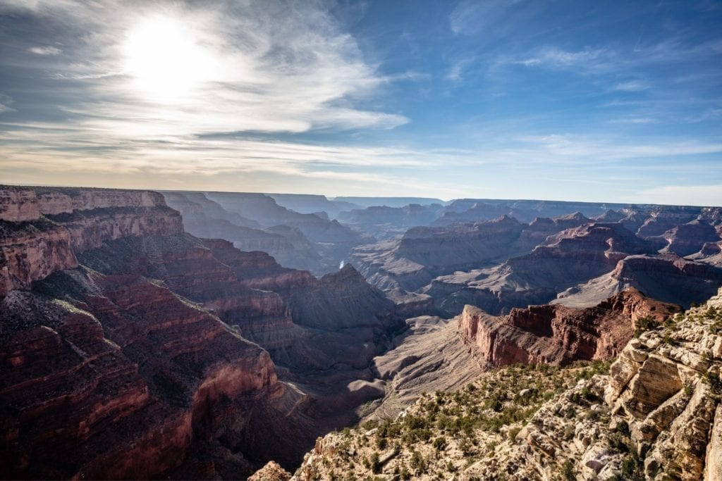 A view above the expansive Grand Canyon in Arizona