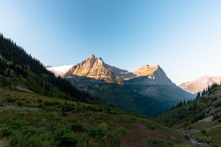 A view of mountains in Logan Pass from Going-to-the-Sun-Road.