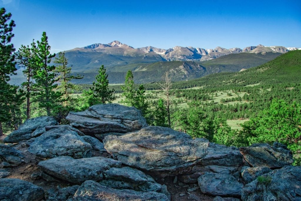 Green grass and pine trees cover the valley in front of the Rocky Mountains in Rocky Mountain National Park in Colorado