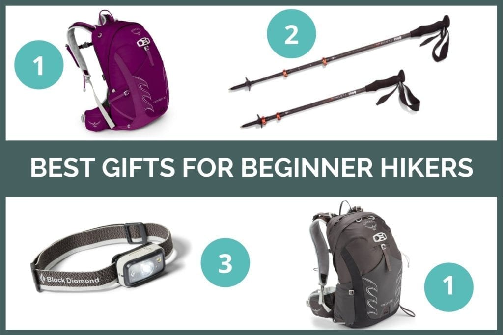 Graphic for the best gifts for beginner hikers: Osprey backpacks, REI trekking poles, and Black Diamond headlamps