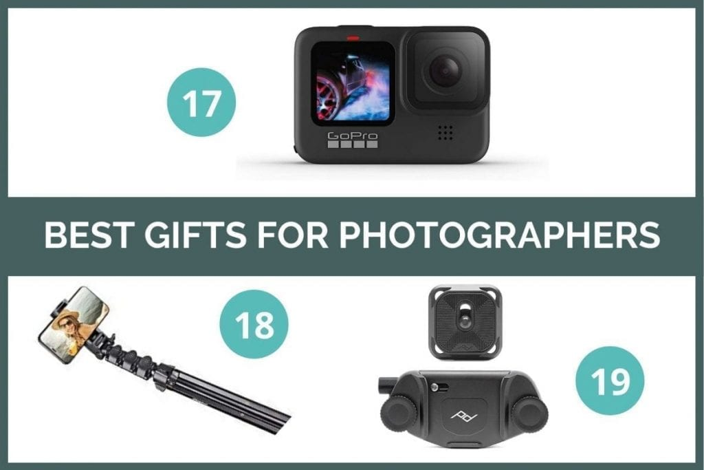 Graphic for best gifts for photographers: GoPro HERO9, Smartphone tripod, Peak Design camera clip