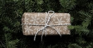 A gift wrapped in paper sits on the branches of an evergreen tree