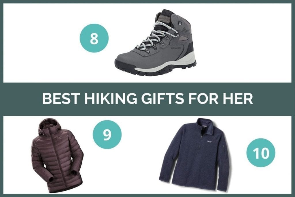 Graphic for best hiking gifts for her: Columbia hiking boots, Arcteryx down jacket, and Patagonia fleece