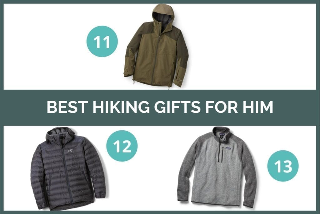 Graphic for Best hiking gifts for him: REI Xerodry rain jacket, Arc'teryx Cerium LT Down jacket, and Patagonia Better Sweater