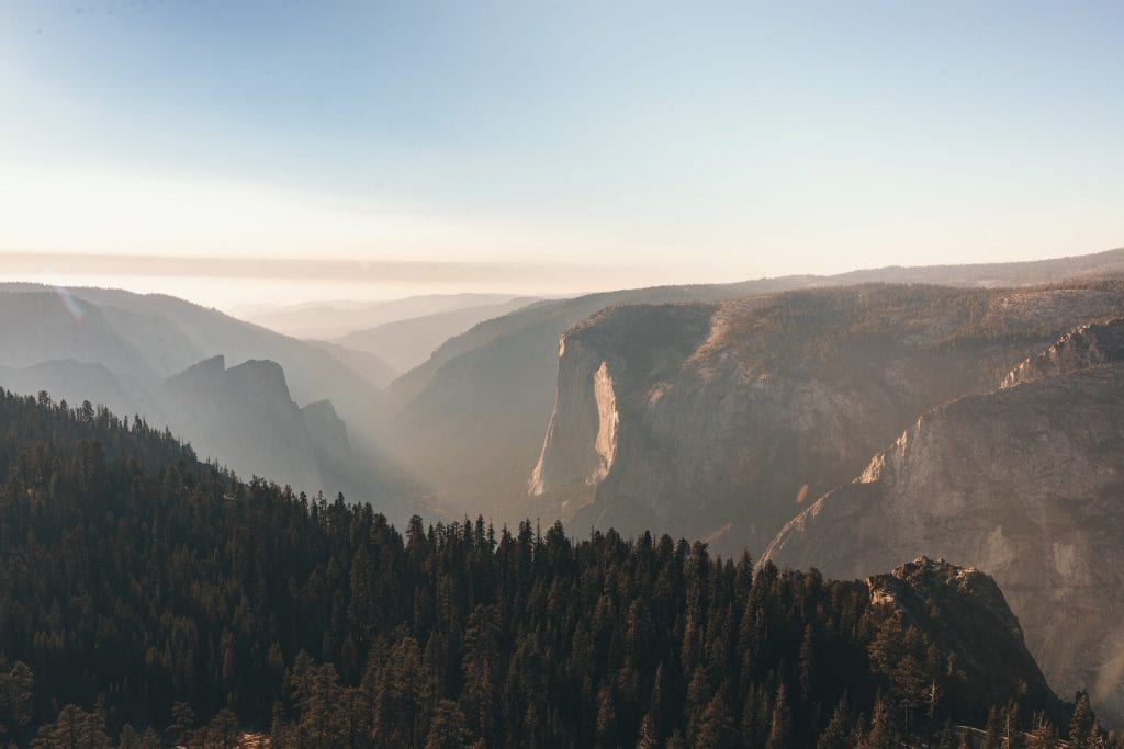 El Capitan and Yosemite Valley from Taft Point at sunset