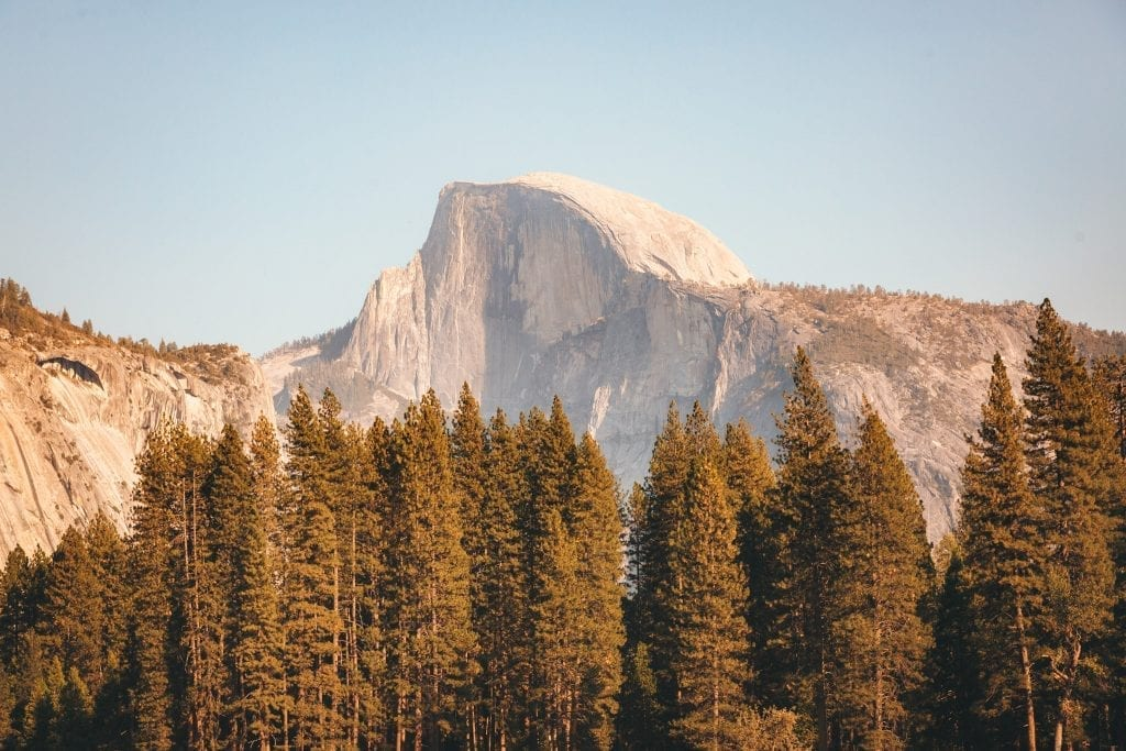 Half Dome as seen from Cooks Meadow during fall in Yosemite National Park