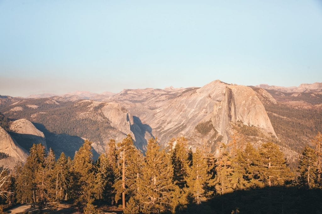 View of Half Dome from the top of Sentinel Dome in Yosemite National Park