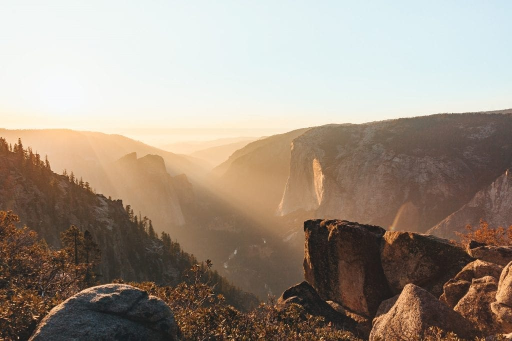 Sunset along the trail from Sentinel Dome to Taft Point overlooking Yosemite Valley