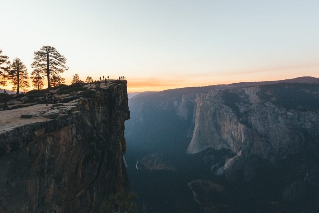 Taft Point and El Capitan at sunset in Yosemite National Park