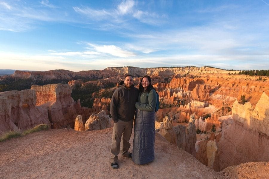Wearing layers for sunrise in Bryce Canyon National Park
