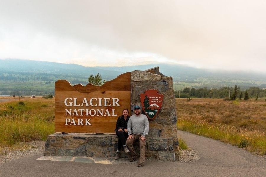 Entrance sign at Glacier National Park in Montana