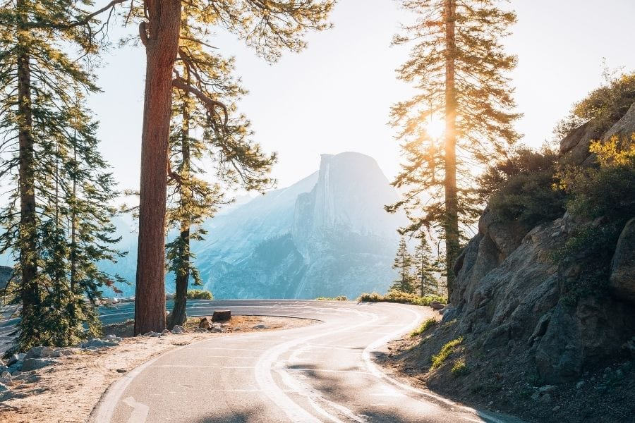 Glacier Point Road sunrise in Yosemite National Park