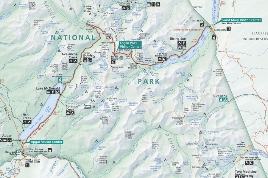 Map of Going-to-the-Sun Road in Glacier National Park