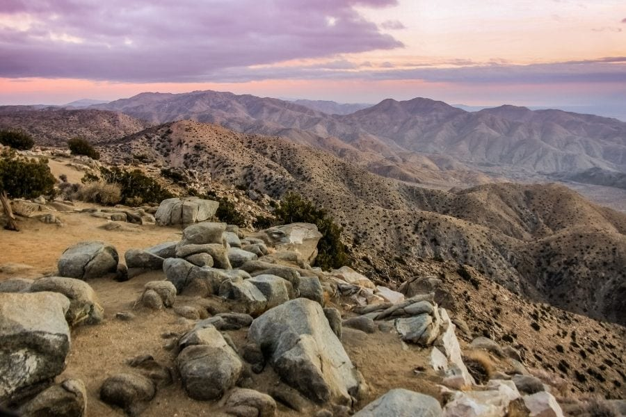 Mountains in the distance over the Coachella Valley from Keys View in Joshua Tree