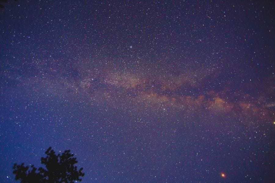 Starry night sky and Milky Way while stargazing in Bryce Canyon