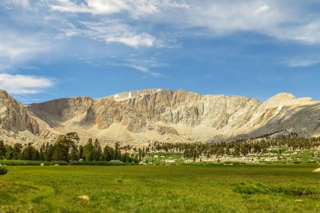 View of Mount Langley from a grassy meadow in Sequoia National Park