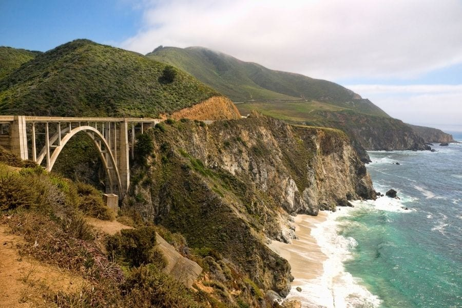 Bixby Creek Bridge on the Pacific Coast Highway in California on a sunny day