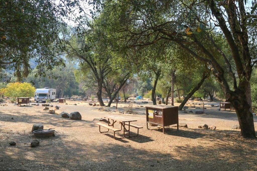 Campsite in Potwisha Campground in Sequoia National Park