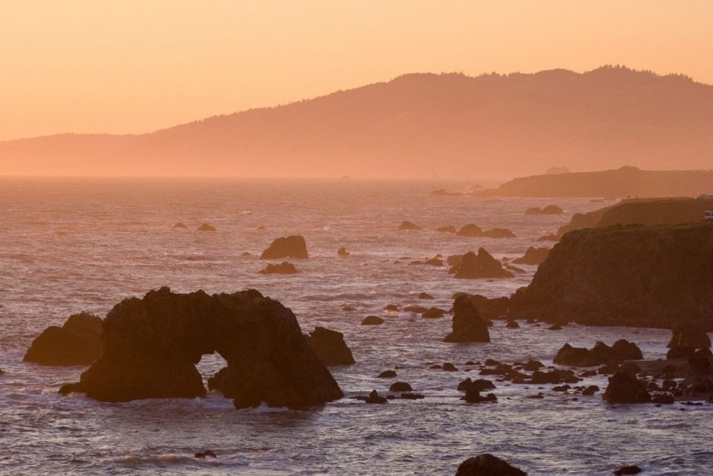 Northern California Coastline at sunset