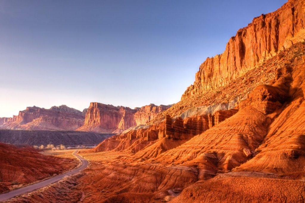 Highway winds through Capitol Reef National Park