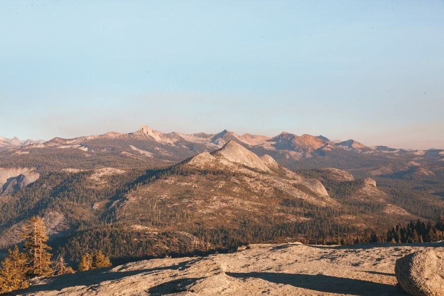 View of the Sierras from Sentinel Dome in Yosemite National Park