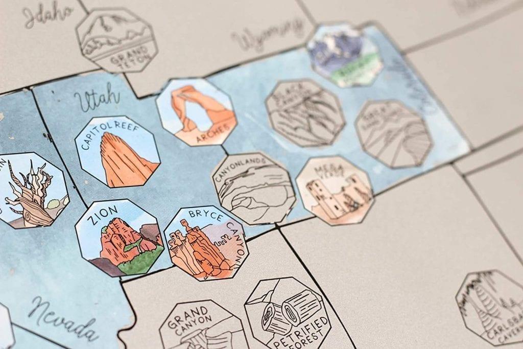 USA National Park Scratch Off Maps over Utah and Colorado