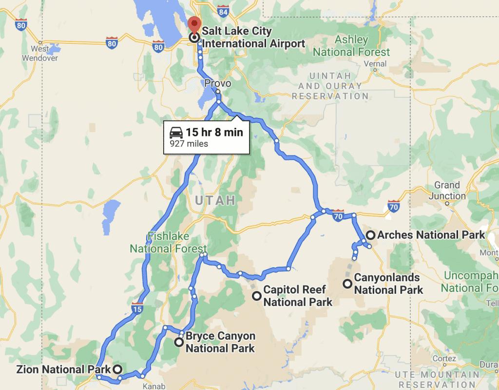Utah national parks road trip from Salt Lake City