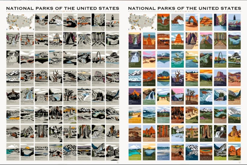 Popchart national parks of the united states poster